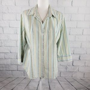 Talbots - green and white button down shirt